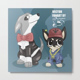 Fanart of swaggy Kermit and Marbles Metal Print