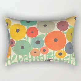 Cat in flower garden Rectangular Pillow