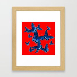 DECORATIVE CHINESE RED PATTERNED  BLUE BUTTERFLY FLOCK Framed Art Print