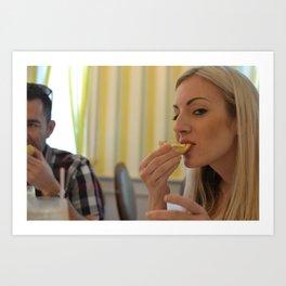Girl Eating bread Art Print