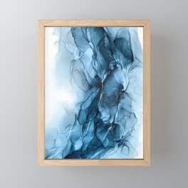 Deep Blue Flowing Water Abstract Painting Framed Mini Art Print