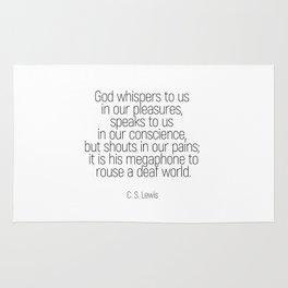 God whispers #quotes #cslewis #minimalism Rug