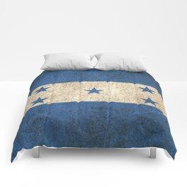 Old and Worn Distressed Vintage Flag of Honduras Comforters