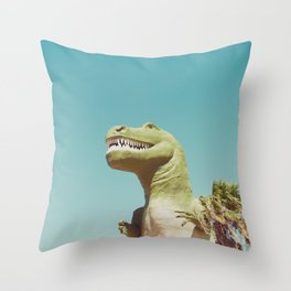 Dinosaur, T-rex, Animals, Cute, Kids, Children, Teal, Palm Springs Throw Pillow
