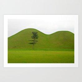 Hill tombs and tree, Korea Art Print