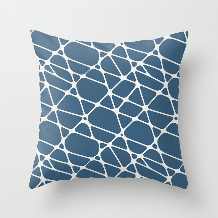 Off-white & Blue Abstract Mosaic Pattern 2 Pairs To 2020 Color of the Year Chinese Porcelain Throw Pillow