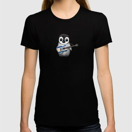 Baby Penguin Playing Israeli Flag Acoustic Guitar T-shirt