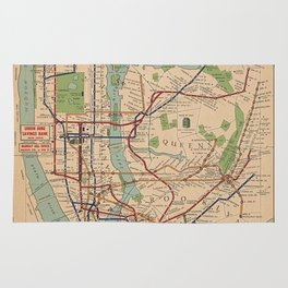 New York City Metro Subway System Map 1954 Rug