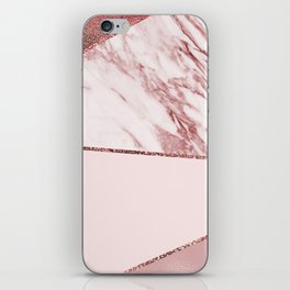 Spliced mixed pinks rose gold marble iPhone Skin