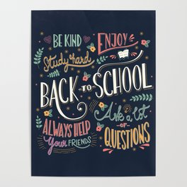 Back to school colorful typography drawing on blackboard with motivational messages, hand lettering Poster