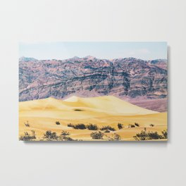sand desert with mountain background at Death Valley national park, USA Metal Print