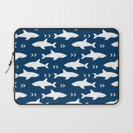 Shark pattern navy and white minimal modern basic nursery triangles chevrons nursery Laptop Sleeve