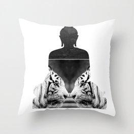White Tiger Buddha Throw Pillow