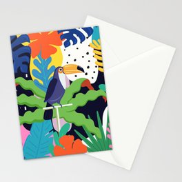 Bold Tropical Jungle Abstraction With Toucan Memphis Style Stationery Cards