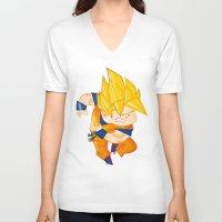 goku V-neck T-shirts featuring Goku SSJ  by Juan David Giraldo Ramirez