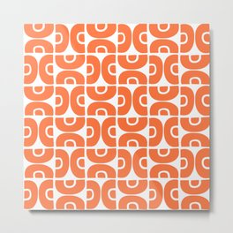 Groovy Mid Century Modern Pattern Orange Metal Print