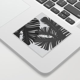Tropical Leaf Silhouette in Gray Palette Sticker