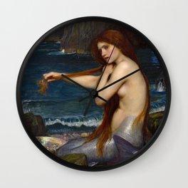"""John William Waterhouse """"Mermaid"""" Wall Clock"""