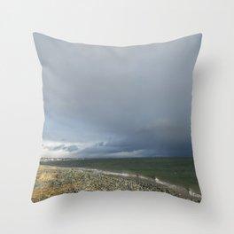 Eastern Passage Boardwalk Stormy Skies Throw Pillow