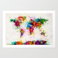 map Art Prints featuring Map of the World Map Paint Splashes by artPause