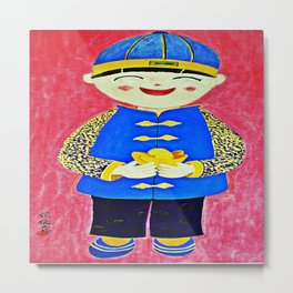 Chinese Boy With Gold Ingots Metal Print