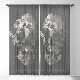 Spring Skull Monochrome Sheer Curtain