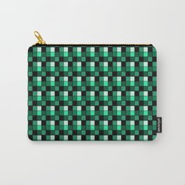 Emerald Ring Blocks, Checkered Pattern - Jade Carry-All Pouch