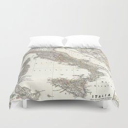 Vintage Map of Italy (1865) Duvet Cover