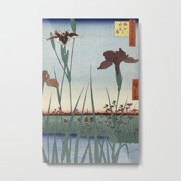 Hiroshige - Horikiri Iris Garden Metal Print