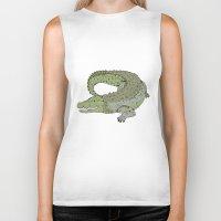 crocodile Biker Tanks featuring Crocodile by Melrose Illustrations