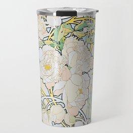 Alphonse Mucha Peonies Travel Mug