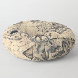 Old Nautical Map Floor Pillow