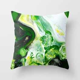 Green White Slime Abstract Painting Throw Pillow