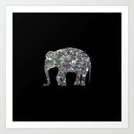 Sparkly colourful silver mosaic Elephant Art Print
