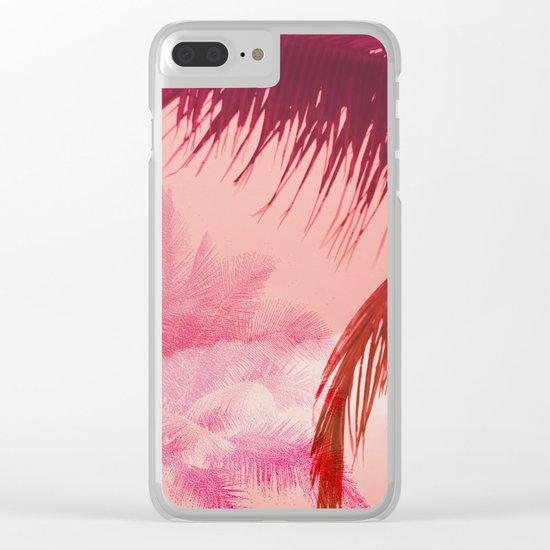 Tropical Pink Sunset Clear iPhone Case