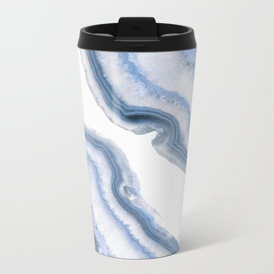 Airy Blue Agate Metal Travel Mug