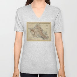 Map of Oahu, Hawaii (1938) Unisex V-Neck