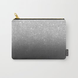 Modern faux silver glitter ombre grey black color block Carry-All Pouch
