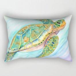 Swimming, Smiling Sea Turtle Rectangular Pillow
