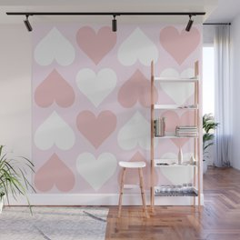 Big Heart Pattern - Pink and Living Coral Wall Mural
