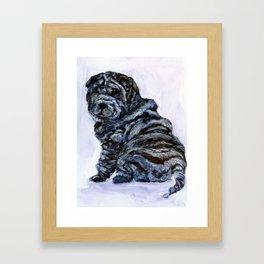 Black Shar Pei Love Framed Art Print