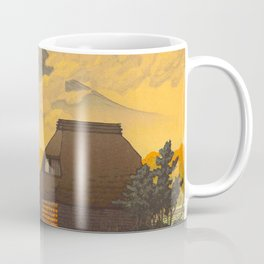 Vintage Japanese Woodblock Print Sepia Japanese Farm Mount Fuji Farmer Coffee Mug