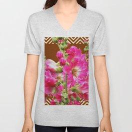 Coffee Brown Fuchsia Pink Holly Hocks Pattern Flora Art Unisex V-Neck