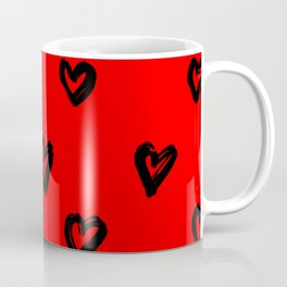 Hand Drawn Hearts in Black on Red Background Coffee Mug