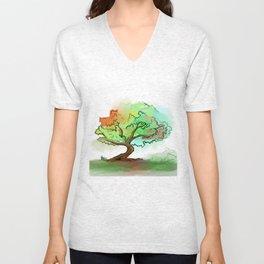 Big watercolor tree Unisex V-Neck