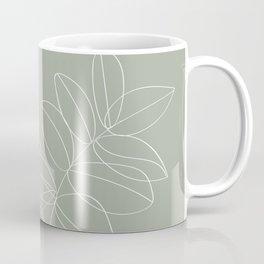Boho Sage Green, Decor, Line Art, Botanical Leaves Coffee Mug