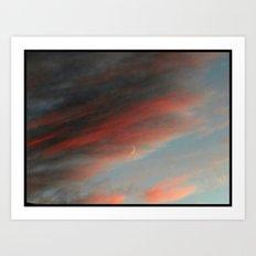 Moon and Sunset Art Print