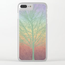 Green grunge tree Clear iPhone Case