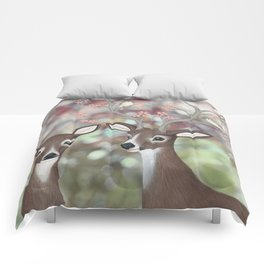 white tailed deer, warbling vireos, & cherry blossoms Comforters
