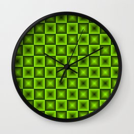 Chess tile of green rhombs and black strict triangles. Wall Clock